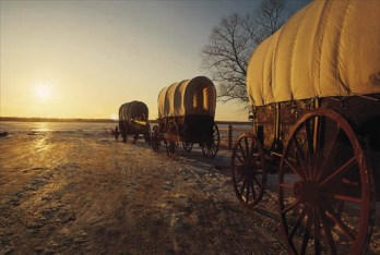 Mormon Pioneers traveling to the west Covered Wagons Courtesy of Shaun Messick
