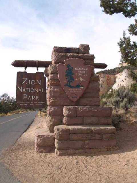 Park Sign for Zion National Park in the Under the Rim District of the Mormon Pioneer National Heritage Area
