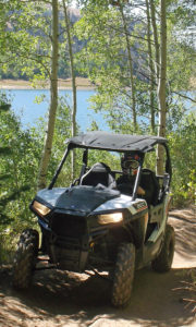 Photo Credit: Sanpete County Travel Polaris RZR 900 on the Arapeen OHV Trail #12 east of Fairview Utah. Huntington Reservoir is seen in the background.