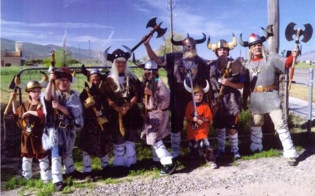 Mormon Pioneer National Heritage Area MPNHA. Group of people in Viking costumes celebrating their Scandinavian heritage.