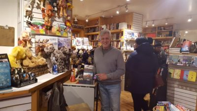 Author James Nelson at book signing at Dolly's in Park City, Utah.