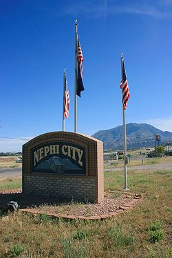 City sign of Nephi, Utah
